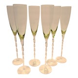 Image of Abigails Crystal Fluted Green Toned Champagne Glasses With Twisted Stem - Set of 6 For Sale