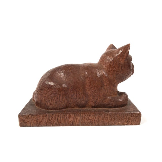 Folk Art Hand Carved Wood Cat Sculpture For Sale In Boston - Image 6 of 12