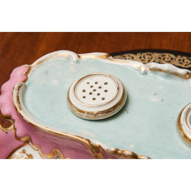 Mid 19th Century 19th Century French Porcelain Inkstand With Ink Pot and Sander For Sale - Image 5 of 6