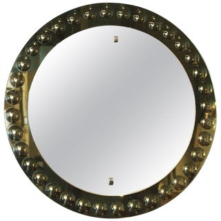 1950s Round Mirror, Intaglio Grey-Green Mirror Frame - Italy For Sale