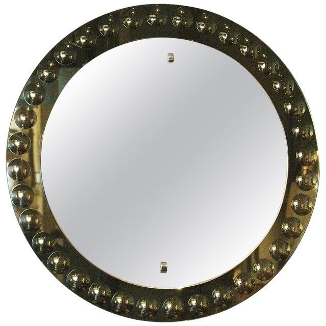 1950s Round Mirror, Intaglio Grey-Green Mirror Frame - Italy For Sale