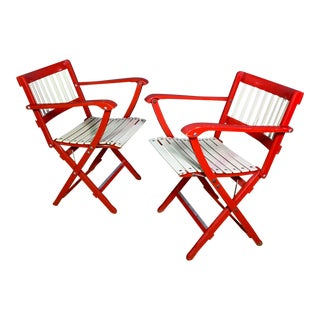 1960s Vintage Fratelli Reguitti Lacquered Folding Chairs- a Pair For Sale