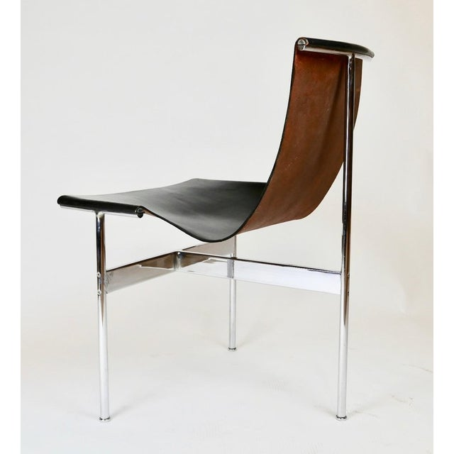 """Silver Set of 6 1952 Katavolos Kelley & Littell for Laverne """"T"""" Chairs in Black Leather For Sale - Image 8 of 13"""