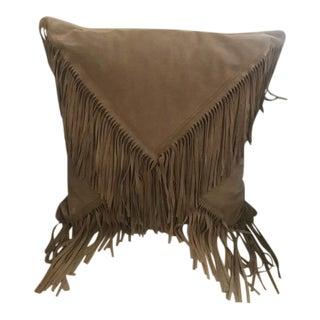 Suede Fringed Pillow For Sale