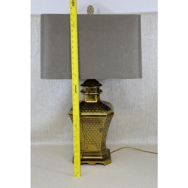 Gold Brass Fish Scale Design Pagoda Lamp For Sale - Image 8 of 10