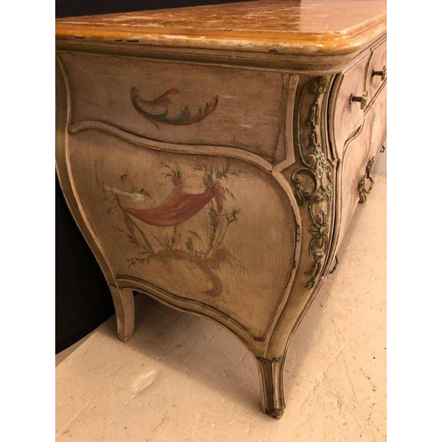 Venetian Scenic Bombe Chinoiserie Painted Commode with a Faux Marble Top For Sale - Image 4 of 11