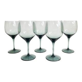 Mid Century Gray Wine Glasses - Set of 5 For Sale
