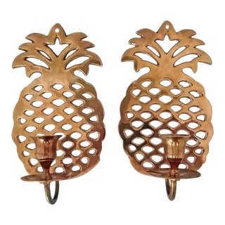 Vintage Brass Pineapple Wall Candle Sconces - a Pair