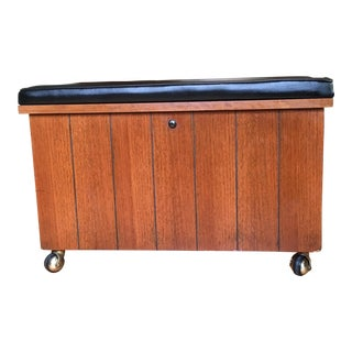 Mid Century Vintage Lane Record Cabinet Padded Bench For Sale