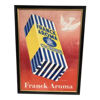 Original Vintage 1946 Frank Aroma Coffee Framed Poster For Sale