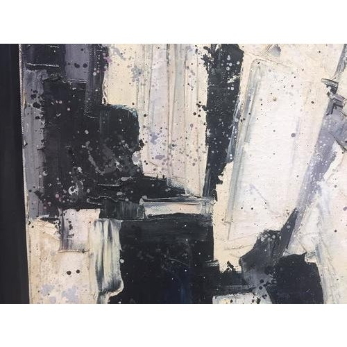 Great vintage abstract art, oil on canvas, signed by Cuban artist T. Mazars, undated circa 1970s. Black and white palette,...
