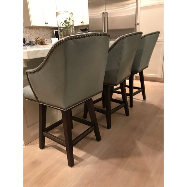 Traditional Lee Industries Leather Swivel Counter Stools - Set of 3 For Sale - Image 3 of 9