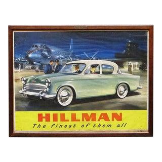 Large English Hillman Car Print, Framed Under Glass For Sale