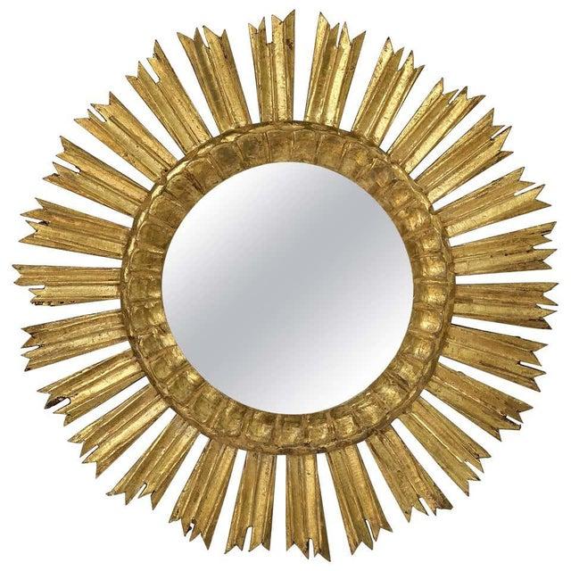 French Gilt Starburst or Sunburst Mirror (Diameter 21) For Sale - Image 9 of 9