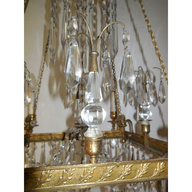 Gold 19th Century French Neoclassical Crystal and Bronze Chandelier with Spears For Sale - Image 8 of 11