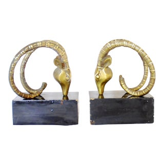 1950s Vintage Brass Ibex Bookends - A Pair For Sale