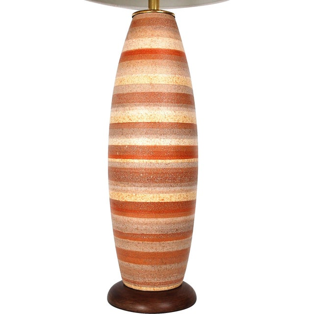 Large Mid-Century Striped Pottery Lamp - Image 4 of 9
