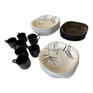 1980s Black & White Mikasa Tempo Eighty Dinnerware Set - 31 Pieces For Sale