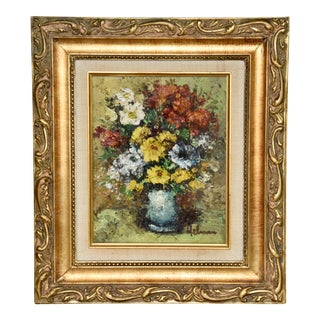 Original Impasto Still Life Floral Oil Painting by Helman For Sale