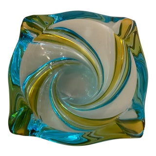 Vintage Art Glass Ashtray For Sale