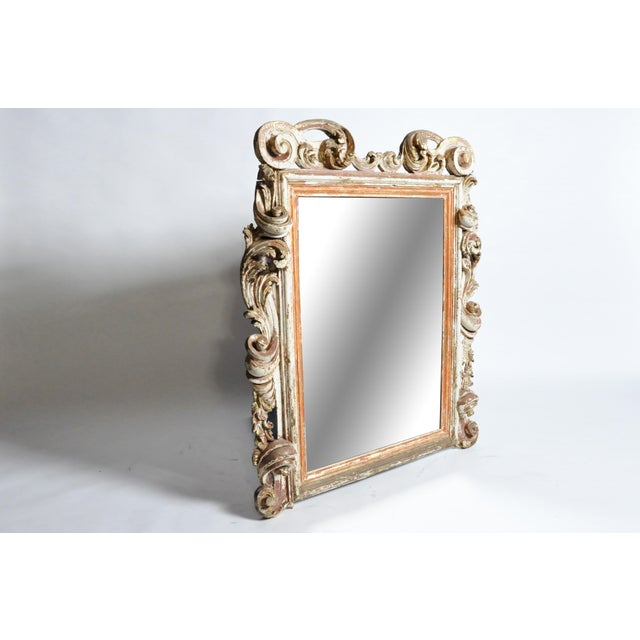 Italian 19th Century Italian Mirror With Carved Scroll-Work For Sale - Image 3 of 11