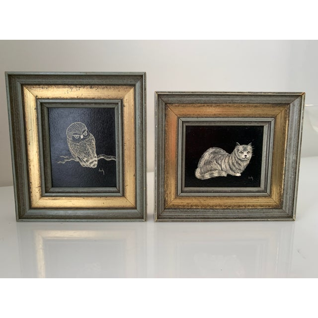 Vintage Framed & Signed Scratch Art - a Pair For Sale - Image 11 of 11