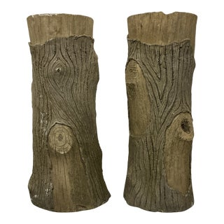 Vintage Faux Bois Planters - a Pair For Sale