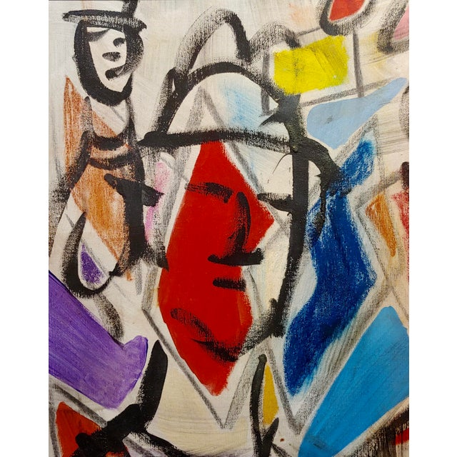 1960s 1960s Pascal Cucaro Abstract Faces in a Landscape Oil Painting For Sale - Image 5 of 9