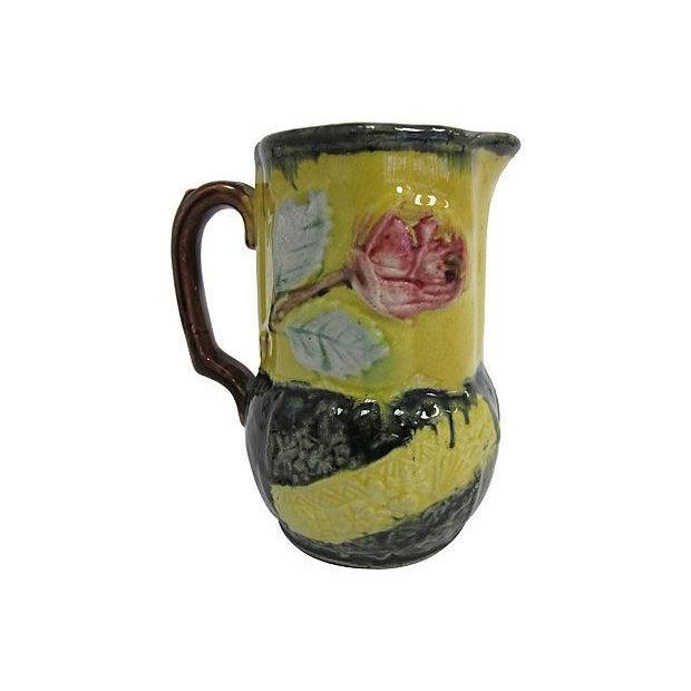 Antique English Majolica Floral Jug - Image 1 of 3