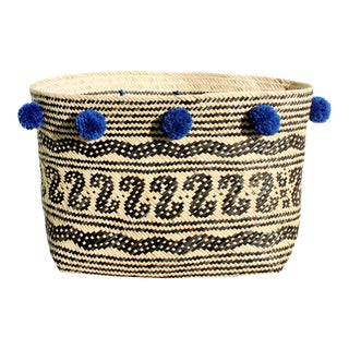 Borneo Tribal Straw Basket - with Royal Blue Pom-poms