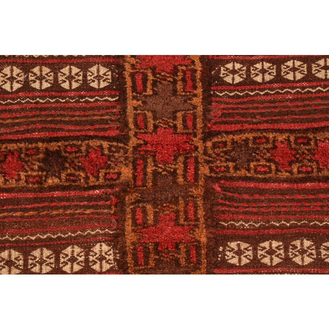Tribal Antique Geometric Red and Brown Wool Kilim Rug For Sale - Image 3 of 6