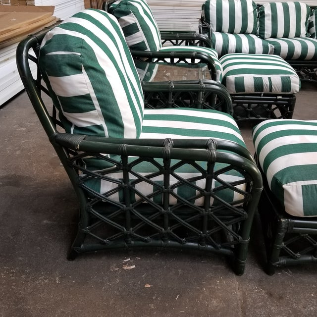 1960s Vintage Ficks Reed Hunter Green Rattan Lounge Chair and Ottoman Set For Sale - Image 12 of 13