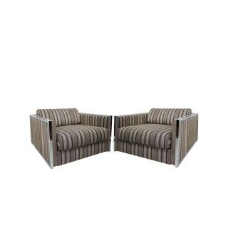 1960s Mid-Century Modern Milo Baughman Chrome Cube Chairs - a Pair For Sale