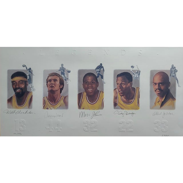 Americana Los Angeles Lakers -Legends-Magic,West,Jabbar,Chamberlain-Signed Lithograph For Sale - Image 3 of 11
