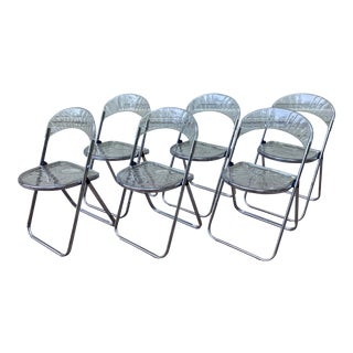 1980s Acrylic Pila Style Folding Shell Chairs - Set of 6 For Sale