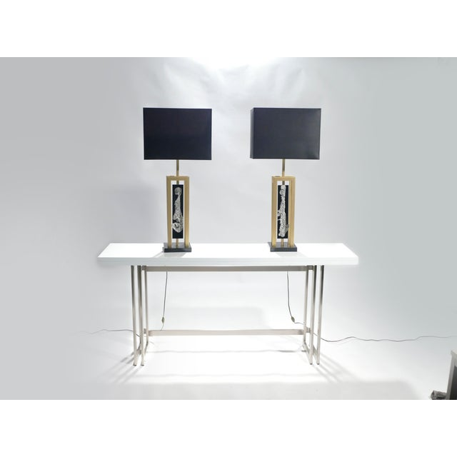 Mid-Century Modern Pair of Large Philippe Cheverny Brass and Nickel Table Lamps, 1970s For Sale - Image 3 of 11