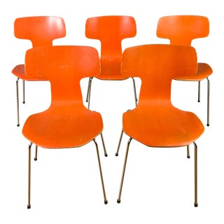 1970s Vintage Arne Jacobsen For Fritz Hansen Dining Chairs-Set Of 5 For Sale