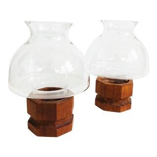 Mid Century Teak Hurricane Candle Holders - Set of 2 For Sale