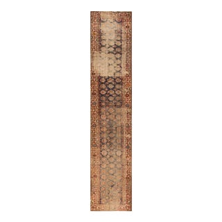 Antique Distressed Beige and Blue Malayer Runner Rug, 3.07x19.05