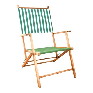 Vintage Reclining Deck Chair with Green Striped Canvas