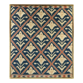 Framed Vintage Scandinavian Flat Weave Coverlet Textile Art For Sale
