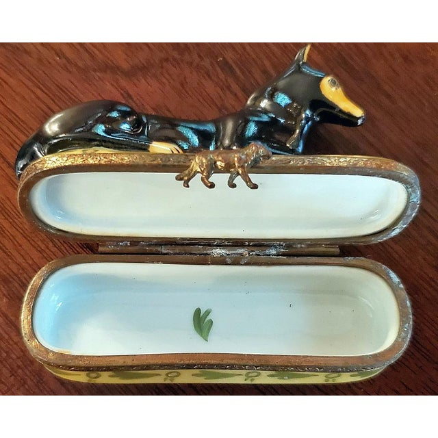 Mid 20th Century Vintage Limoges Doberman Pinscher Ring Box For Sale - Image 5 of 12