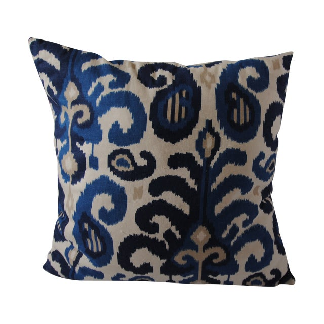 Custom Blue Ikat Pillows - A Pair - Image 1 of 7