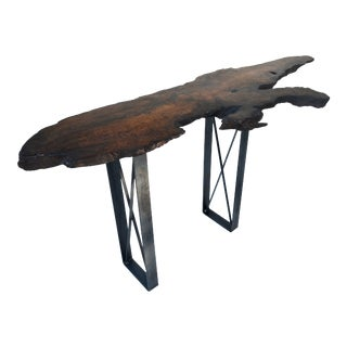 Live Edge Burl Wood Console Table For Sale