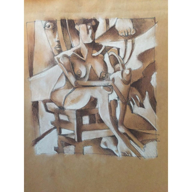 Portraiture Vintage Primitive Cubism Drawing For Sale - Image 3 of 6