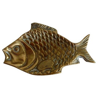 Vintage English Brass Fish Tray For Sale