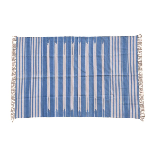 Boho Chic Ivy Rug, 8x10, Cornflower Blue & White For Sale - Image 3 of 3