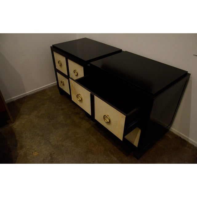 A Pair of French Moderne style Ebonized Wood and Vellum Bedside Cabinets - Image 4 of 7