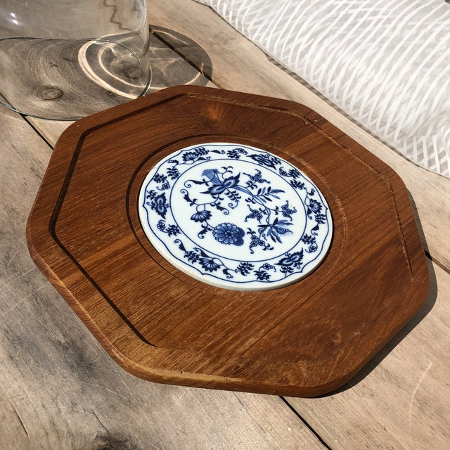 French Country Blue and White Dolphin Teakwood Cheese Plate With Glass Dome For Sale - Image 3 of 7