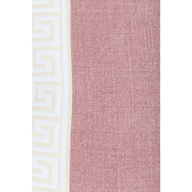 Contemporary Pink Linen & Ivory Greek Key Pillows - A Pair For Sale - Image 3 of 5